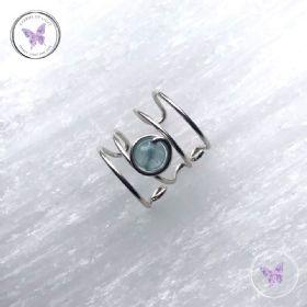 Aquamarine Silver Banded Ear Cuff